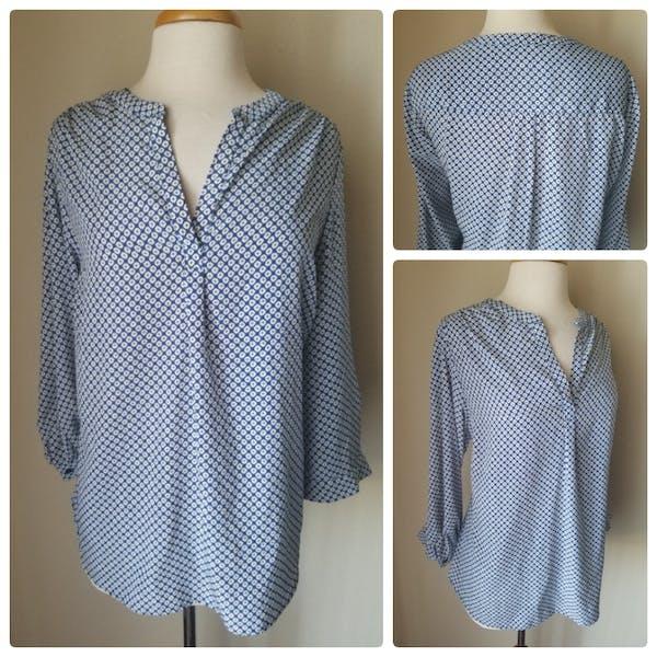 Other Dalia Collection Blue Geometric Print 3/4 Sleeve Split Neck Blouse Top 1X