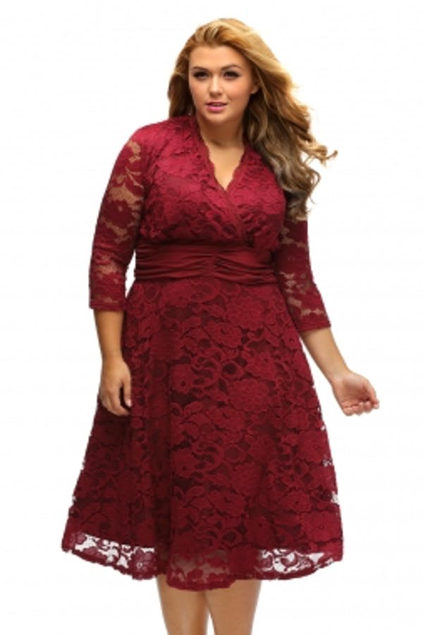 Other Red Plus Surplice Neck Ruched Waist Floral Lace Swing Dress