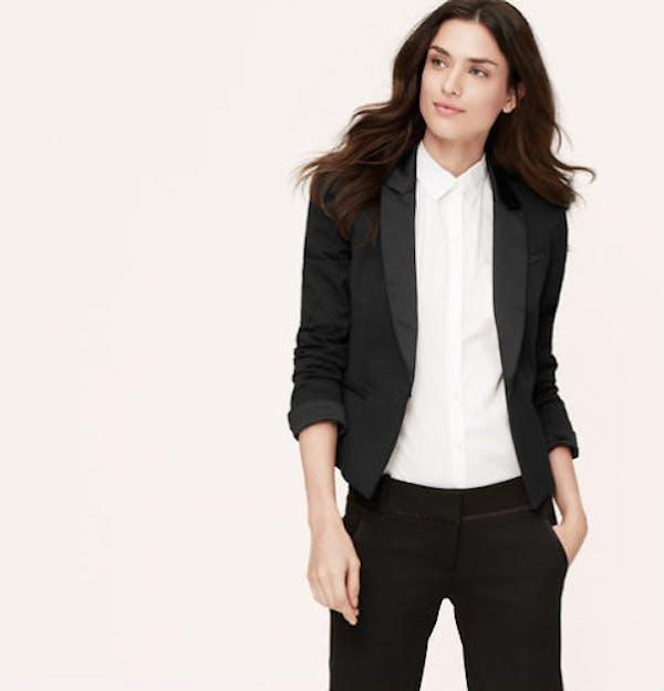 LOFT NWT ANN TAYLOR LOFT Black Sleek Satin Trim Notch Lapel Tuxedo Jacket Blazer $108