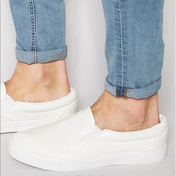 ASOS White Snake Skin Pattern Slip - On Sneakers