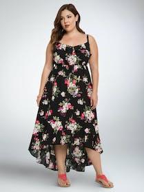 Torrid Floral Ruffle Hi-Lo Maxi