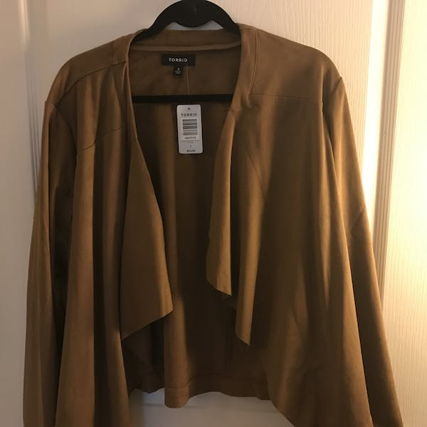 Torrid Faux Suede Layered Drape Front Jacket