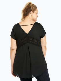Torrid Black Crochet Trim Top