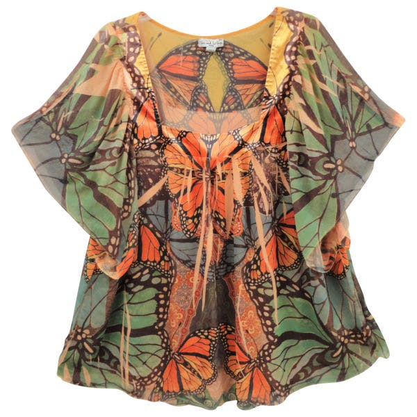 Other Live & Let Live 3X Plus Rust Green Butterfly Sublimation Peasant Tunic Top Shirt
