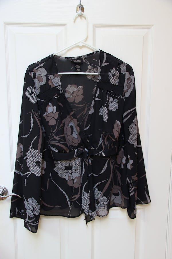 Lane Bryant Floral Black Wrap Top
