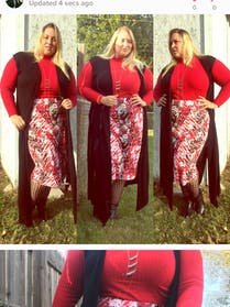 Other Red, black, and white floral skirt