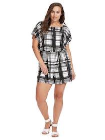 Sangria Romper - Black & White Print Size: 24W Price: $37.50