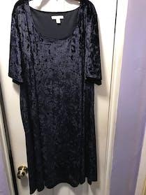 Dress Barn Crushed Velvet Dark Blue Dress