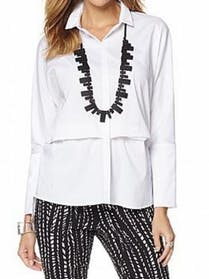 Other Marla Wynne WHITE Side Slit Poplin Shirt with Button Detail Plus Size 3X