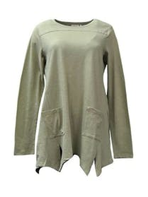 Other LOGO by Lori Goldstein Cotton Slub Knit Top with Asymmetric Hem 3X Lt Gray