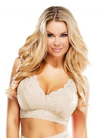 Other Rhonda Shear Lace Pin Up Girl Full Coverage Leisure Bra 3X Beige TAN NEW