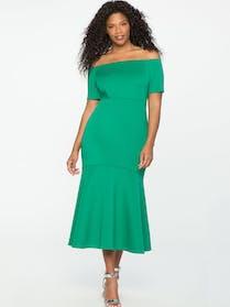 Eloquii Green scuba bodycon midi dress