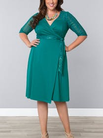 Kiyonna Teal wrap dress